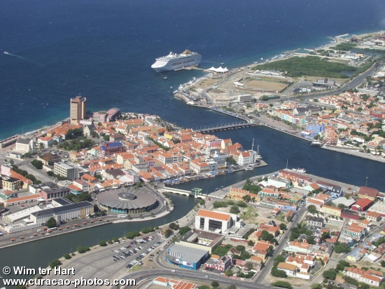 Aerial photo of Willemstad Curaçao