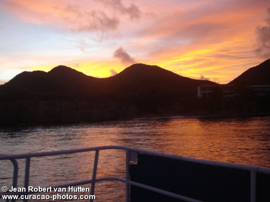 Sunrice in the west of Curacao on The Pelican Express.